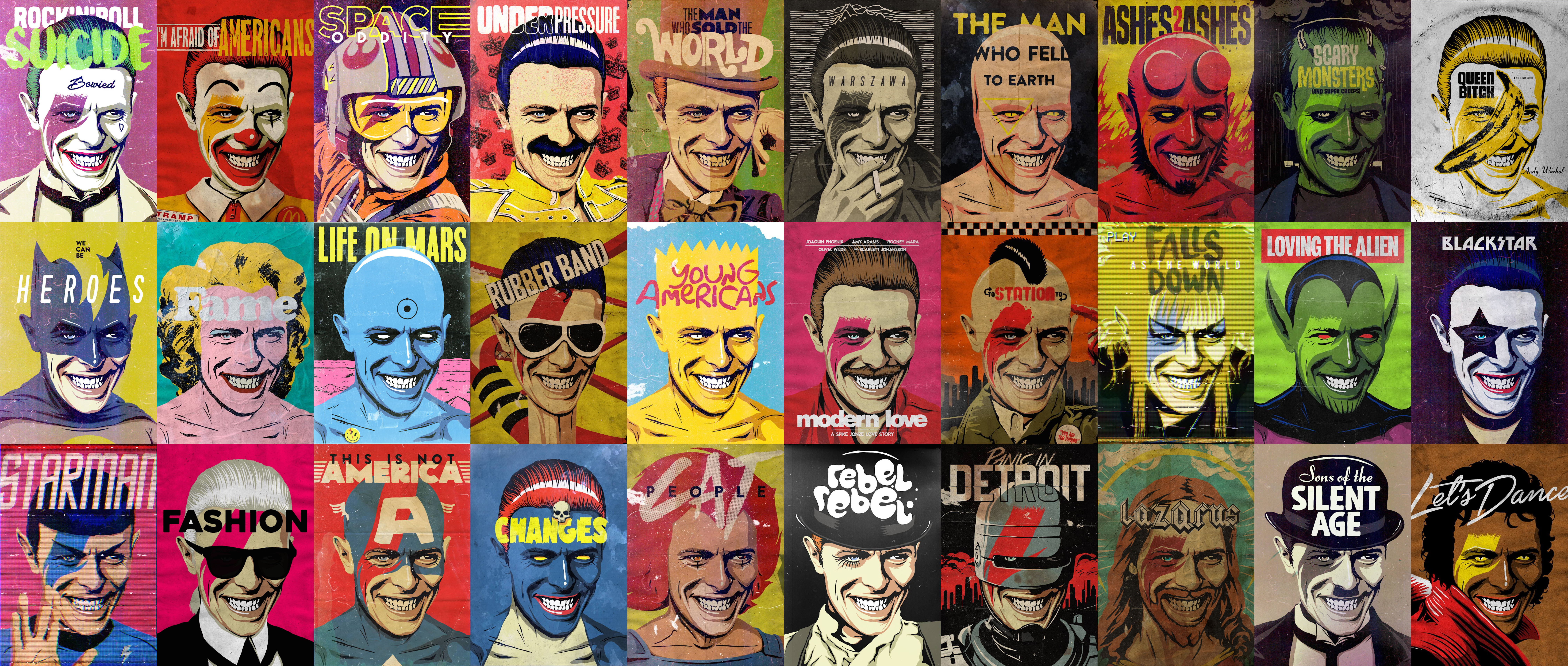 All David Bowie Pop Culture posters, by Billy Butcher.