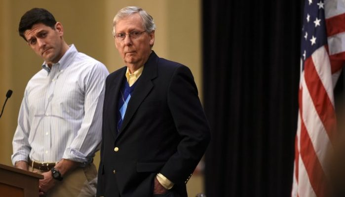 MitchMcConnell and Paul Ryantowards Trump