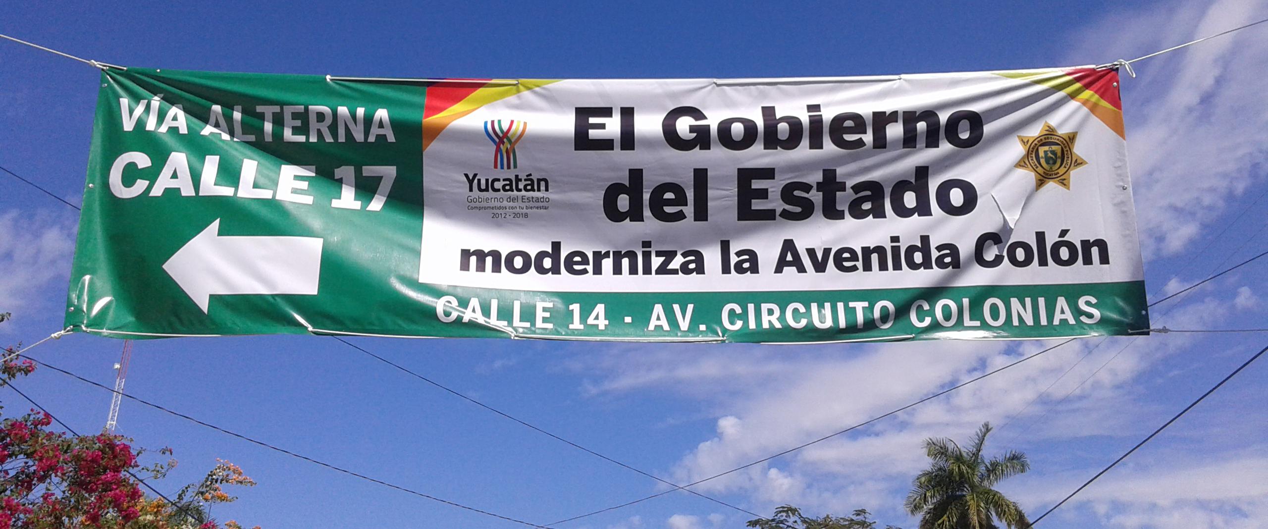 Manta del Gobierno del Estado de Yucatán para desvío por modernización de la Avenida Colón —Imagen de Voz Abierta