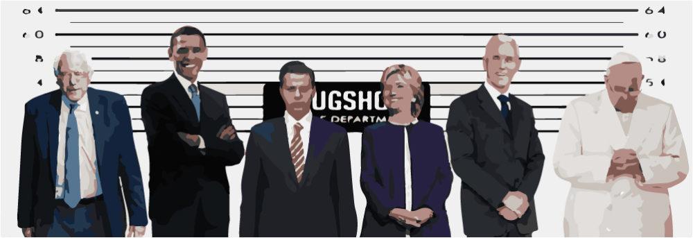 Who shot Donald Trump, mugshot, usual suspects, sospechosos cimunes, Obama, Hillary, Bernie, Trump —Voz Abierta
