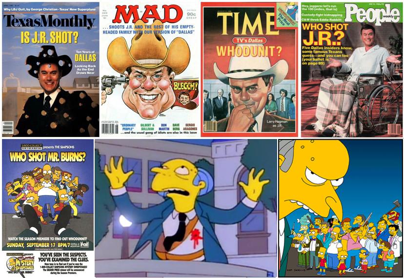 Who shot JR, quién le disparó al sr. Bruns, Dallas, Simpsons, time, mad, People, cover.
