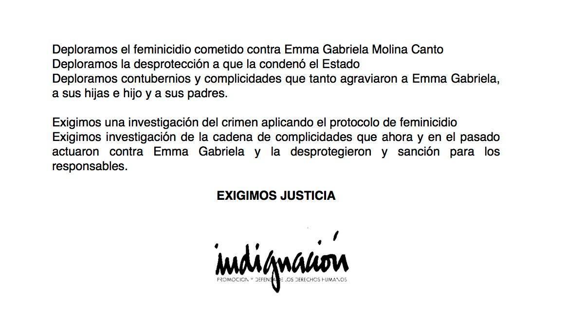 Posicionamiento de Indignación sobre Emma Molina
